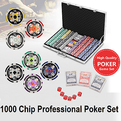 Professional Poker Set 1000 Chip Game Play Chips Dice Cards Aluminium Carry Case