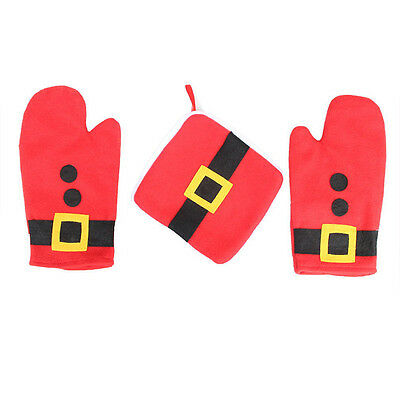 Oven Mitt Heat Resistant Mat Pad Heating Gloves Christmas Home Kitchen Decor 1x