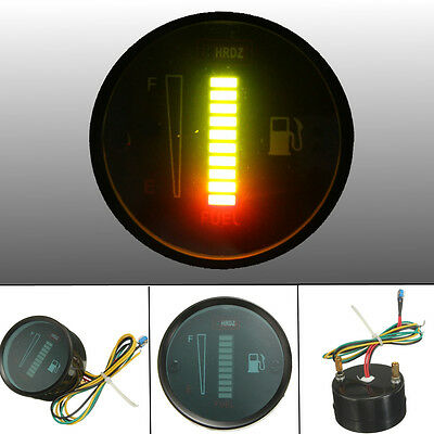 2'' 52mm Alloy Car Motorcycle LED Gas Fuel Gauge Level Meter Display Green Light