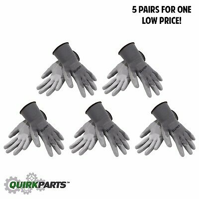 5 PAIRS Of Grey Liner Coated Gloves Unisex Automotive Work Indoor Outdoor Use