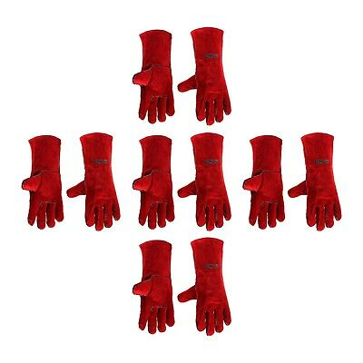 """5 PAIRS OF Welding Gloves 14"""" Red Cow Split Full Sock Lining Protection Quality"""