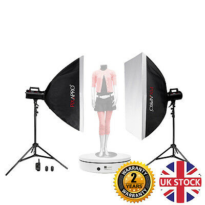 LUMI400 800Ws (2x 400Ws) Twin Softbox Kit with ORBIT600 Photography Turntable