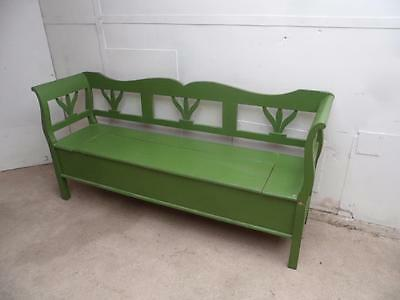 A Classic Antique Pine 3 Seater Painted Green Box Settle/Bench