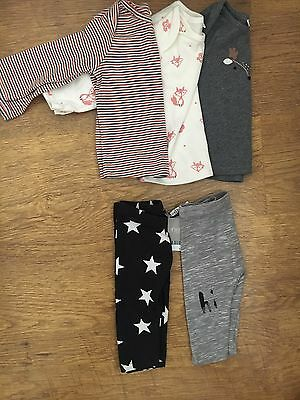 NEXT GIRLS LEGGINGS AND T SHIRTS 6-9 MONTHS fox stars BNWT