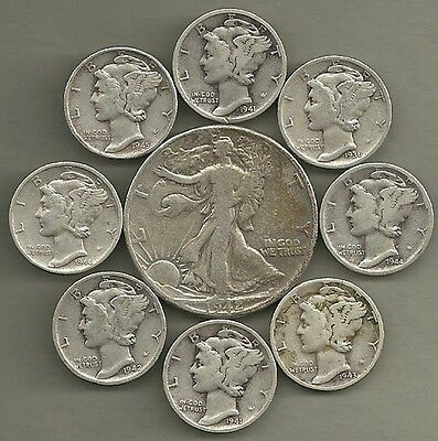 Walking Liberty Half & Mercury Dimes - 90% Silver - US Coin Lot - 9 Coins