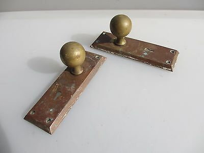 Vintage Brass Door Handles Knobs Plates Keyhole Art Deco Antique Old 1920's