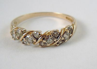 100% Genuine Vintage 9K Solid Yellow Gold Eternity Ring Sz 7.5 US