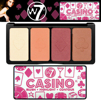 W7 Cosmetics Casino Cara Blush Highlight and Contour Palette All in one Makeup