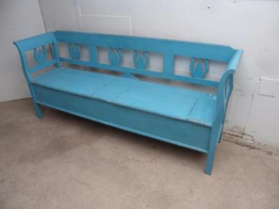 A Superb Antique/Old Pine Sky Blue Shabby Chic 2 Lid Box Settle/Bench