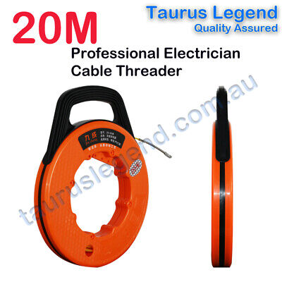 20M Fish Tape Reel Electricians Hose Pipe Wire Cable Threader Puller AU Stock