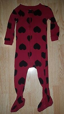 Baby Gap girls 12-18 months footed pajamas pjs romper red black hearts polka dot