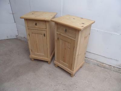 A Superb Pair of Late Victorian Antique/Old Pine Tall Bedside Cabinets