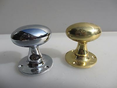 "Late Vintage Chrome & Brass Door Knobs Handles Oval Antique STYLE ""Frank-Allart"""