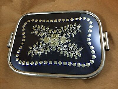 Tablett Art Deco Glas Metall Chrom antique tray 34x26 cm