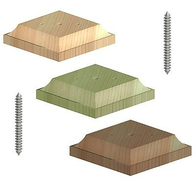 """Wooden Post Top Finial Base For 3"""" 75mm Fence Post Cap Untreated Green Brown"""