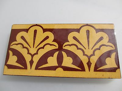 Victorian Ceramic Floor Tile Terracotta Antique 1800's Vintage Old Border Floral