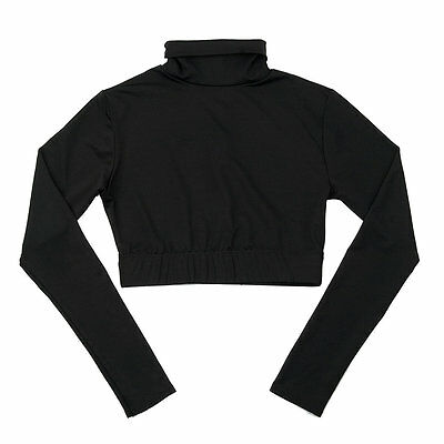 Body Wrappers Black Long Sleeve Turtleneck Cheer Crop Top, Child Size 6X-7