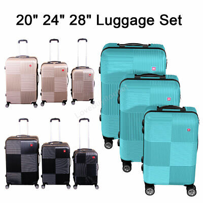 Set of 3 Premium Luggage Set ABS Trolley Suitcase 360° Spinner Wheels Lock