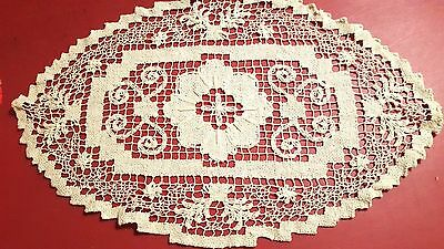 """Antique handmade Italian knot work embroidered oval scarf doily 10 x 15 1/2"""" vtg"""