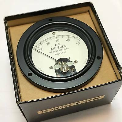 0-50A AC Ampere Meter Panel 55R Simpson 6625-542-1897