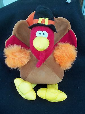 Plush Thanksgiving Turkey Stuffed Animal!  COLORFUL!  CENTERPIECE!  GIBSON 1994