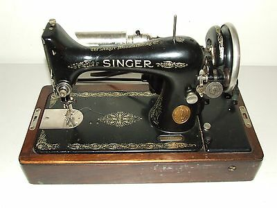 Antique 1927 Singer Electric Sewing Machine 99-13 Knee Control w/ Bentwood Case
