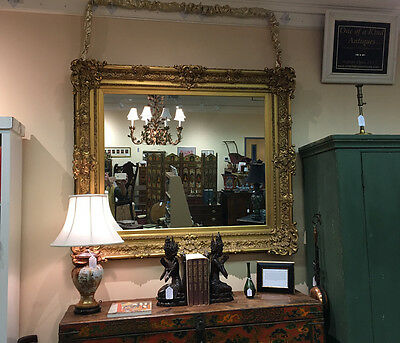 Antique large rare French style gilt Gold leaf frame mirror c1900 over mantle