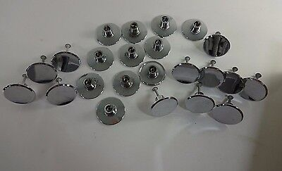 "Set of 23 Vintage Chrome Round  Concave 1.75"" Drawer Cabinet KNOB Pulls"
