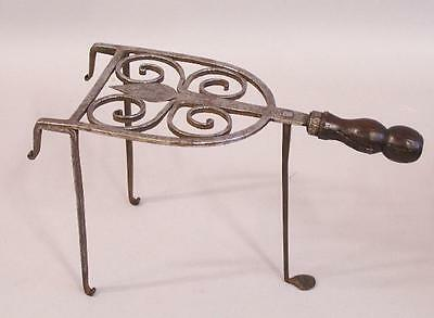Early Georgian hand wrought iron trivet kettle stand c1780