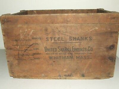 "Antique UNITED SHANK & ENDINGS CO. USA ""STEEL SHANKS"" Wooden Advertising Crate"