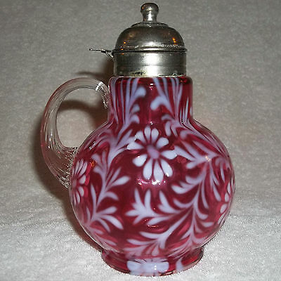 Fenton/L.G.Wright DAISY AND FERN Syrup Pitcher Cranberry Opalescent Art Glass
