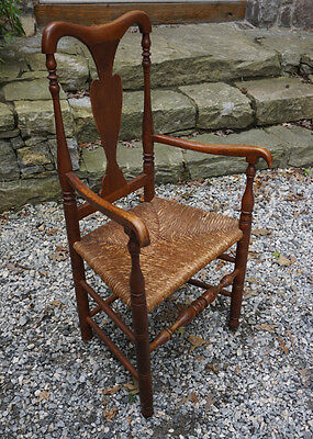 Original Antique Early American Queen Anne fiddle-back arm chair rush seat c1740