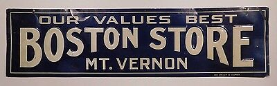 1920's Rare Boston Store 5.25x19.74 Inch Original Metal Advertising Sign