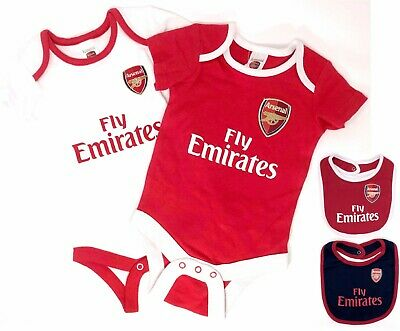 ARSENAL FC  OFFICIAL BABIES BODY PRAM SUIT SHORT SLEEVE BABY GROW VEST x2 AFC