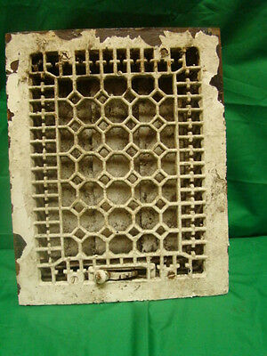 Antique Late 1800'S Cast Iron Heating Grate Honeycomb Design 14 X 11 G