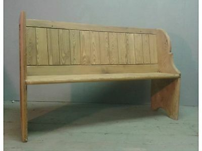 Antique Chunky Pitch Pine Church Pew Victorian Bench 19th Century Settle
