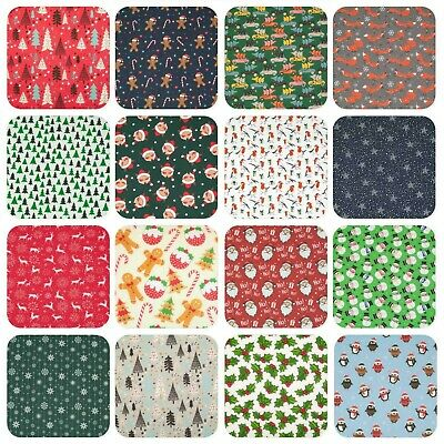 Christmas Fabric - Red Green Blue Silver Grey - Polycotton Material 1/2 metre