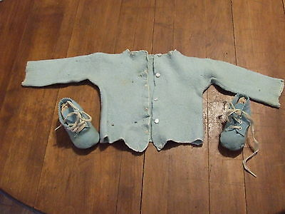 Vintage Blue Wool Knit Baby Sweater W/ Baby Shoes Doll Child Clothes.