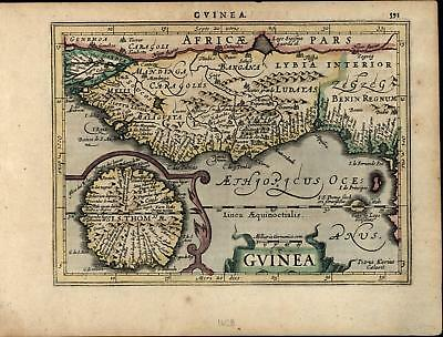Guinea Gold Coast West Africa 1628 Mercator old rare antique hand color map