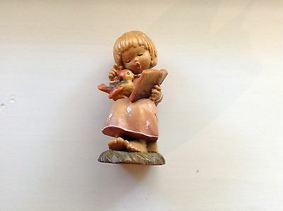 ANRI , Hand Carved Wooden Figurine- Little Girl Singing To A Bird  $39