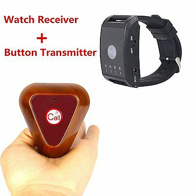 New!!Wireless Watch Call Receiver Pager System Button Transmitter Vibrate/Buzzer