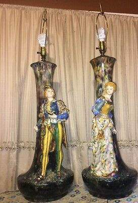 """Two Vintage MCM Lamps Extra Large 44"""" Figurine  Drip Glaze One Of A Kind"""