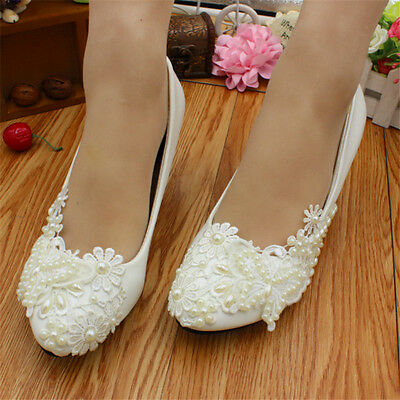 Ivory White Lace Wedding Shoes Pearls Ankle Trap Bridal Flats Heels Size 4 8 5