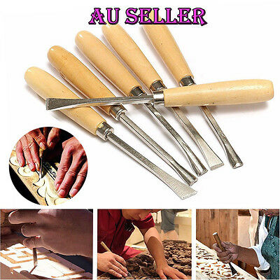6pcs Wood Carving Chisel Set Wood Cutting Hand Tools Gouges Chisels AU Seller