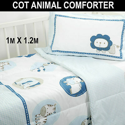 ANIMALS COMFORTER SET Baby Kids Crib Cot Quilt Pillowcase Zoo Coverlet Printed