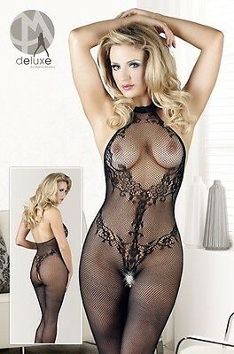 Mandy Mystery Deluxe Neckholder Catsuit Spitze Gr. S / L Schwarz Ouvert |56