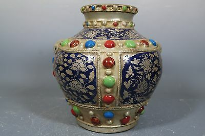 beautiful chinese wu-cai porcelain silver Plated pot