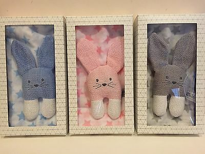 Baby Gift Set Crinkler Knitted Bunny Toy Muslin Wrap Gift Boxed Grey Pink Blue
