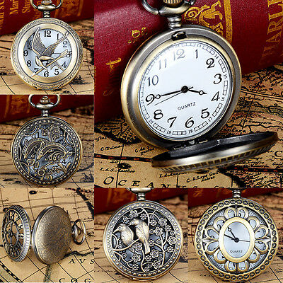 Antique Retro Steampunk Quartz Necklace Pendant Pocket Watch Vintage Chain