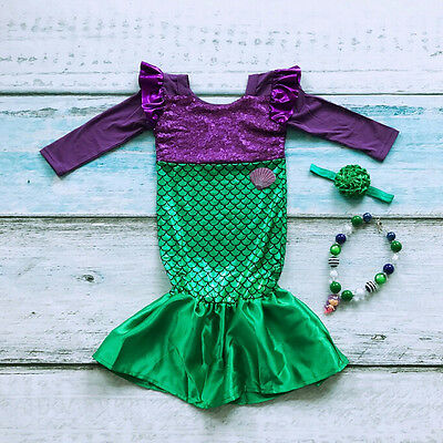 Kids Girl Sequins Little Mermaid Tail Princess Costume Cosplay Party Dress 3-8T